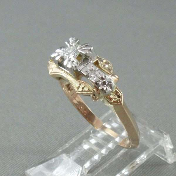 Bague 5 diamants, 14K jaune et 18K blanc, B6732-2