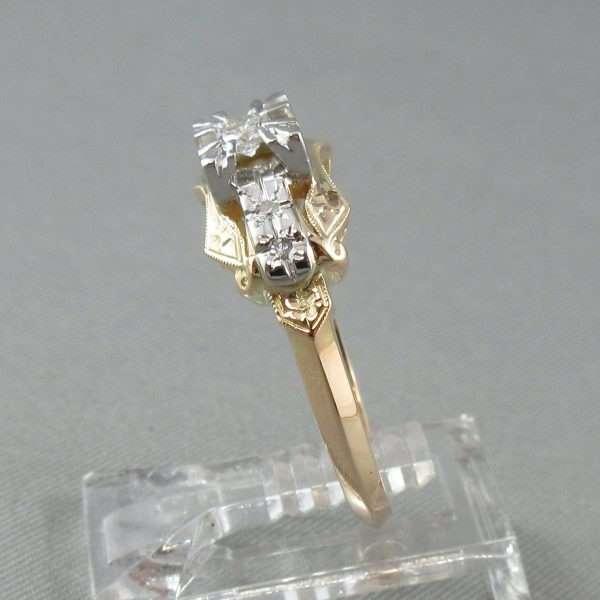 Bague 5 diamants, 14K jaune et 18K blanc, B6732-3