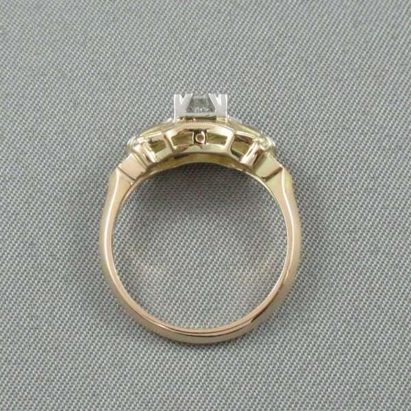 Bague 5 diamants, 14K jaune et 18K blanc, B6732-4