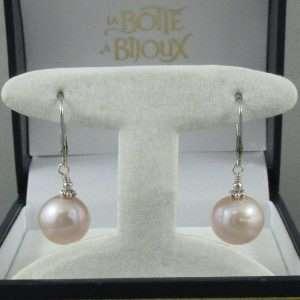 Pendants d'oreilles perles d'eau douce, B6745-1