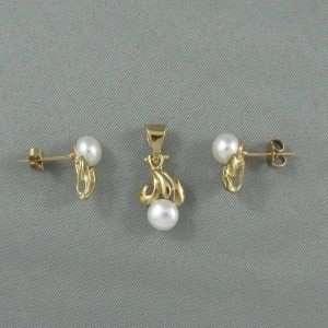 Ensemble (pendentif et b.o.), perles d'eau douce, 10K jaune, B6756-1