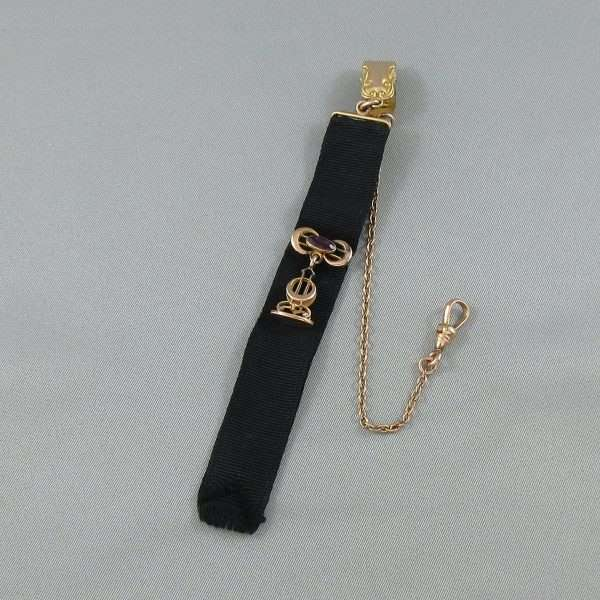 Chaîne de motre à gousset avec ruban noir, B6770-1