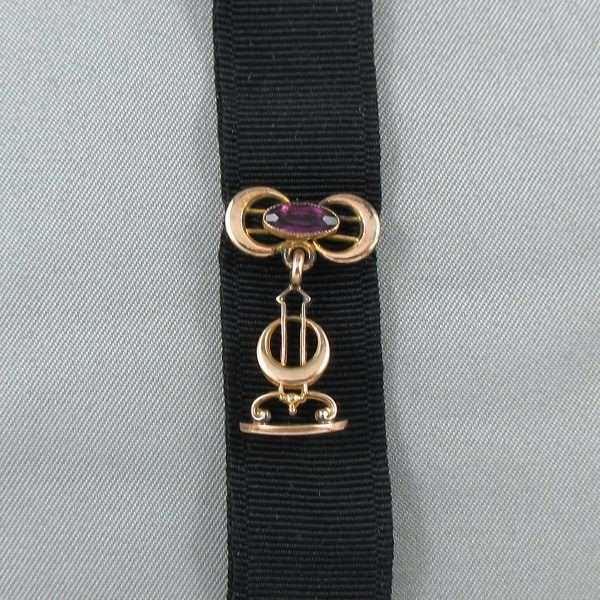 Chaîne de motre à gousset avec ruban noir, B6770-2