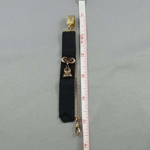 Chaîne de motre à gousset avec ruban noir, B6770-4