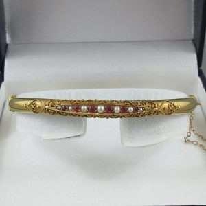 Bracelet Rubis et perles, 15K jaune, B6771-1