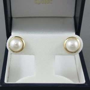 Boucles d'oreilles Perles d'eau douce, 14K jaune, B6777-1