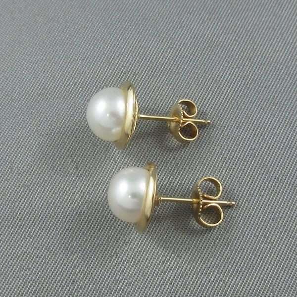 Boucles d'oreilles Perles d'eau douce, 14K jaune, B6777-2