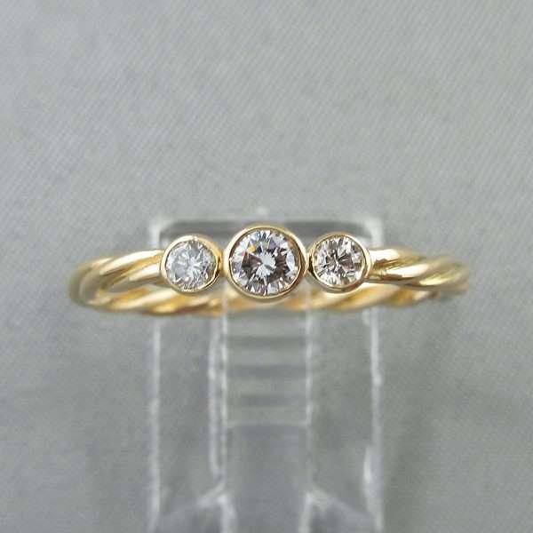 Bague 3 diamants, 18K jaune, B6787-1