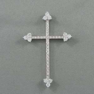 Croix diamants, 18K blanc, B6793-1