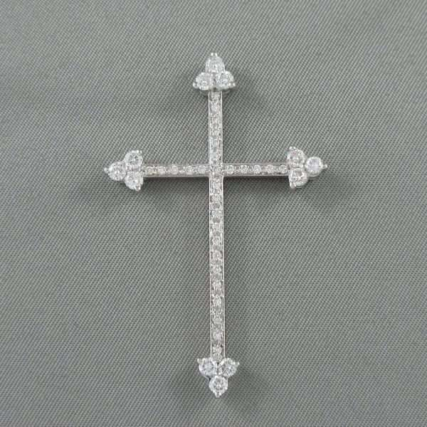 Croix diamants, 18K blanc, B6793-1