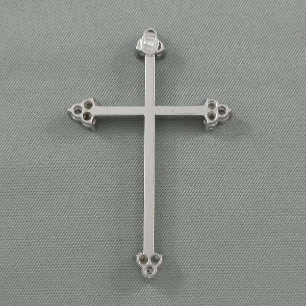 Croix diamants, 18K blanc, B6793-2