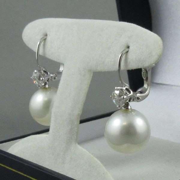 Pendants d'oreilles Perles des mers du sud et diamants, 18K blanc, B6807-2
