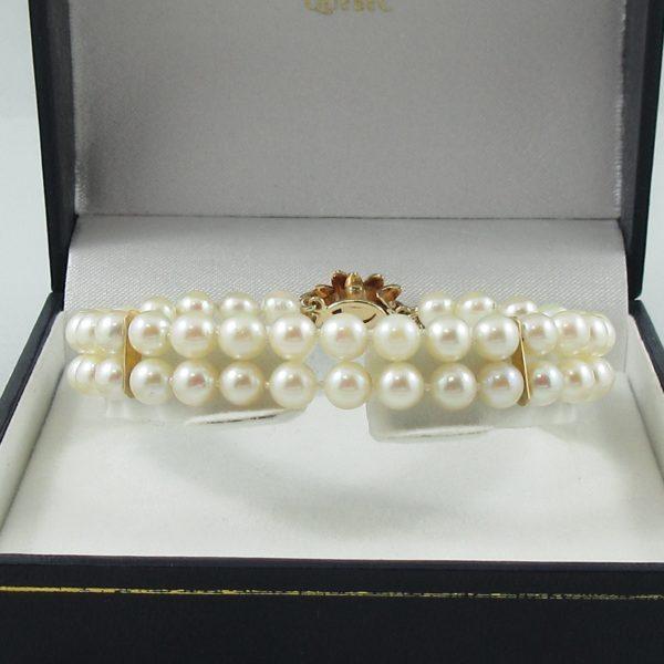 Bracelet 2 rangs, perles Akoya, 14K jaune, B6784-1