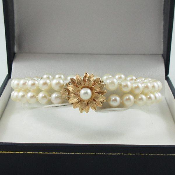 Bracelet 2 rangs, perles Akoya, 14K jaune, B6784-2