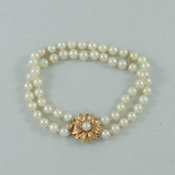 Bracelet 2 rangs, perles Akoya, 14K jaune, B6784-3