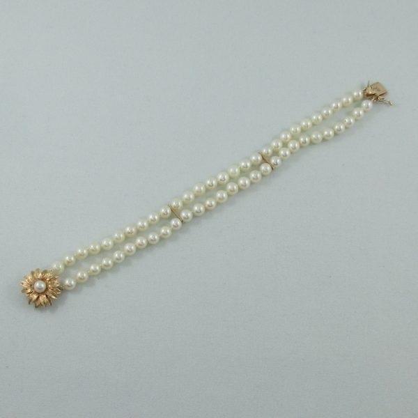 Bracelet 2 rangs, perles Akoya, 14K jaune, B6784-4