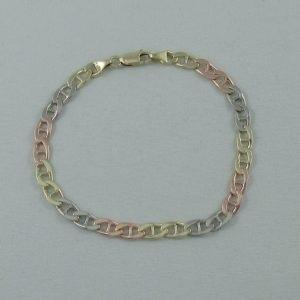 Bracelet 3 tons, maille marine, 10K, B6835-1
