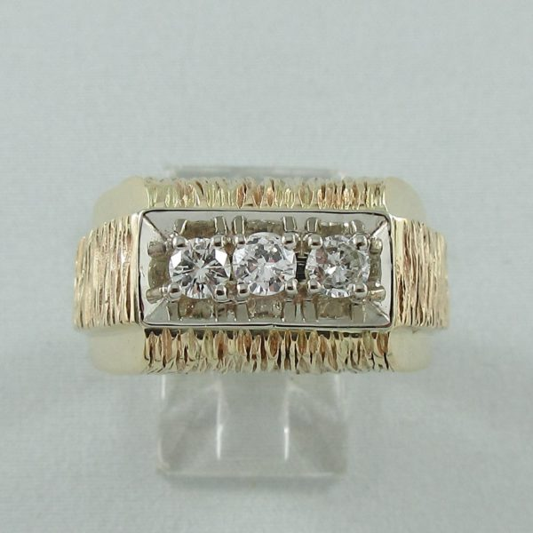 Bague 3 diamants, 10K, B6862-1