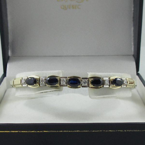 Bracelet saphirs bleus et diamants, 14K , B6865-1