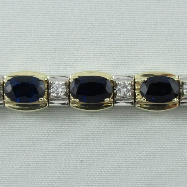 Bracelet saphirs bleus et diamants, 14K , B6865-3