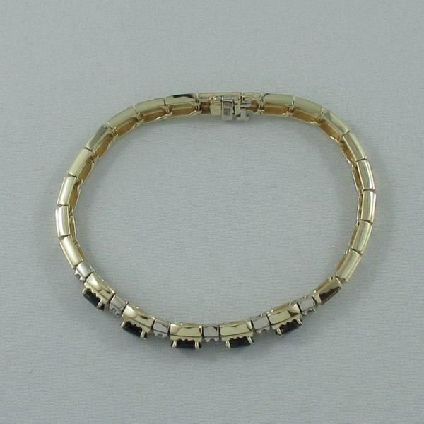 Bracelet saphirs bleus et diamants, 14K , B6865-4