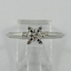 Bague un diamant, 18K blanc, B6761-1