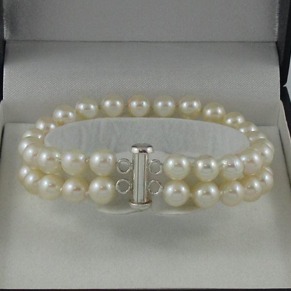 Bracelet 2 rangs, perles Akoya, B6782-2