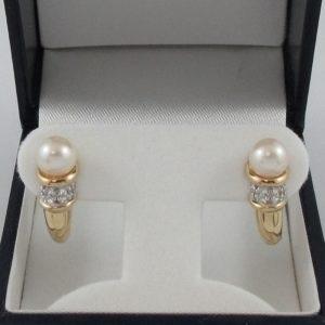 Boucles d'oreilles perles Akoya et diamants, 14K , B6851-1