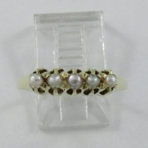 Bague 5 perles, 14K jaune, B6893-1