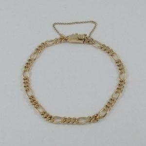Bracelet maille gourmette alternée, 18K jaune, B6897-1