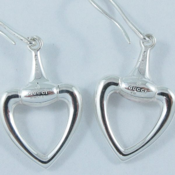 GUCCI 'horsebit heart', pendants d'oreilles, argent, B6906-3