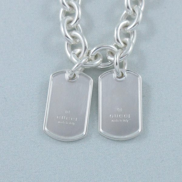 GUCCI collier 'double dog tag', argent, B6907-2