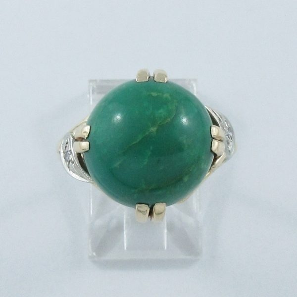 Bague Turquoise verte et diamants, 14K, B6915-1