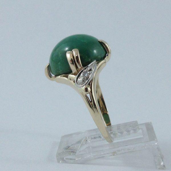 Bague Turquoise verte et diamants, 14K, B6915-2