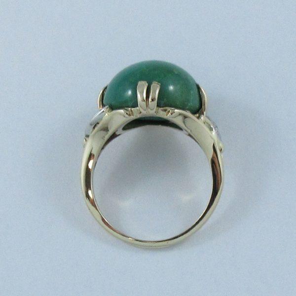 Bague Turquoise verte et diamants, 14K, B6915-3