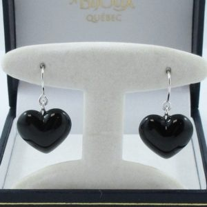 Baccarat, cœurs noirs pendants d'oreilles, argent, B6918-1