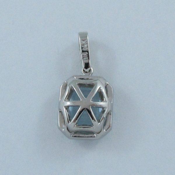 Pendentif Aigue-marine et diamants, 14K blanc, B6921-2