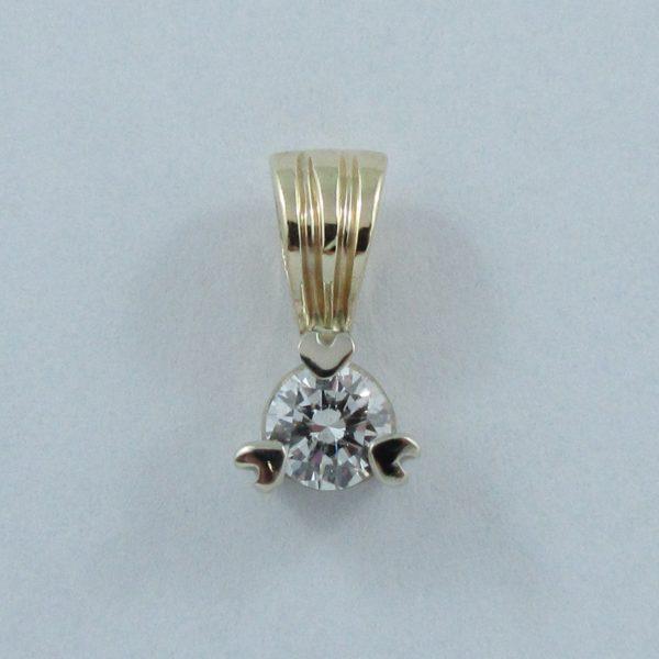 Pendentif un diamant, 14K, B6922-1