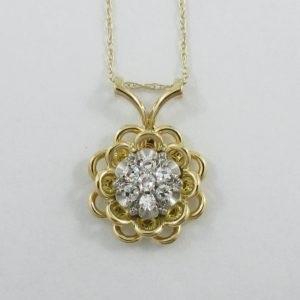 Pendentif 7 diamants 18K jaune et chaîne 14K jaune, B6943-1
