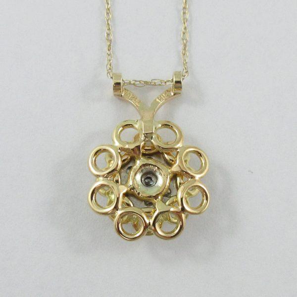 Pendentif 7 diamants 18K jaune et chaîne 14K jaune, B6943-2