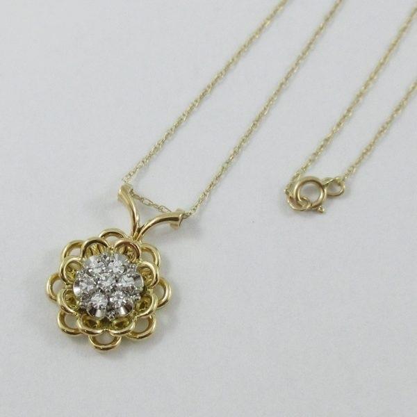 Pendentif 7 diamants 18K jaune et chaîne 14K jaune, B6943-3