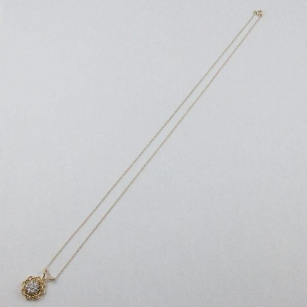 Pendentif 7 diamants 18K jaune et chaîne 14K jaune, B6943-4