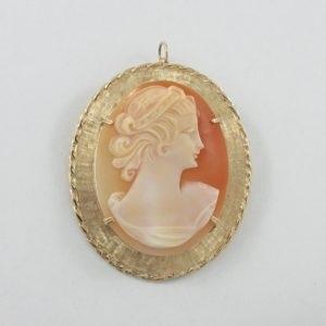Broche/pendentif, camée coquillage, 10K jaune, B6946-1