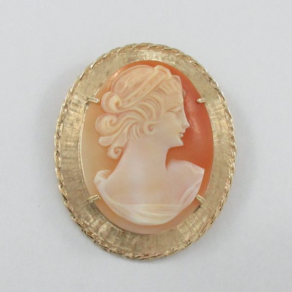 Broche/pendentif, camée coquillage, 10K jaune, B6946-2