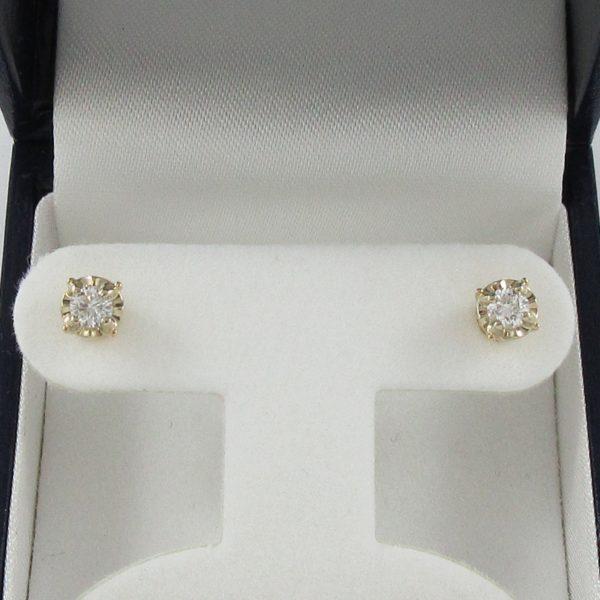 Boucles d'oreilles 2 diamants, 14K, B6928-1
