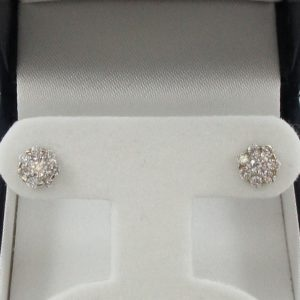 Boucles d'oreilles diamants, 14K blanc, B6935-1