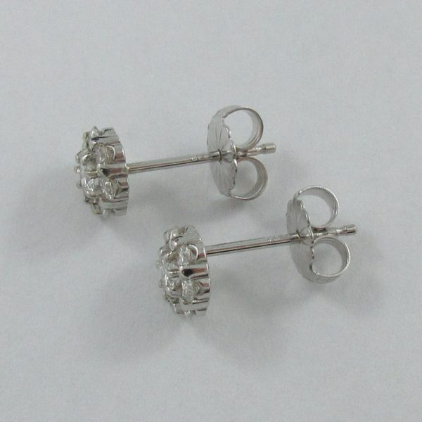 Boucles d'oreilles diamants, 14K blanc, B6935-2