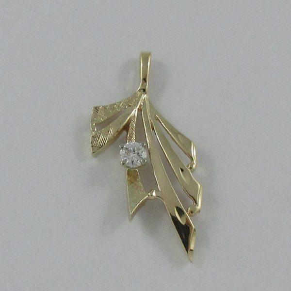 Pendentif, un diamant, 14K jaune, B7001-1