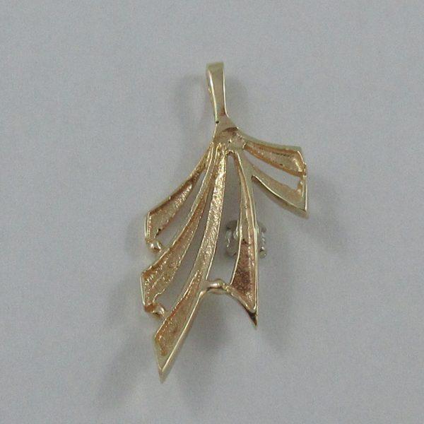 Pendentif, un diamant, 14K jaune, B7001-2