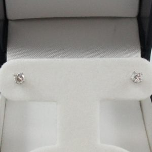 Boucles d'oreilles 2 diamants, 14K blanc, B7002-1